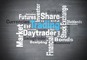 Trading daytrader stock exchange word cloud concept