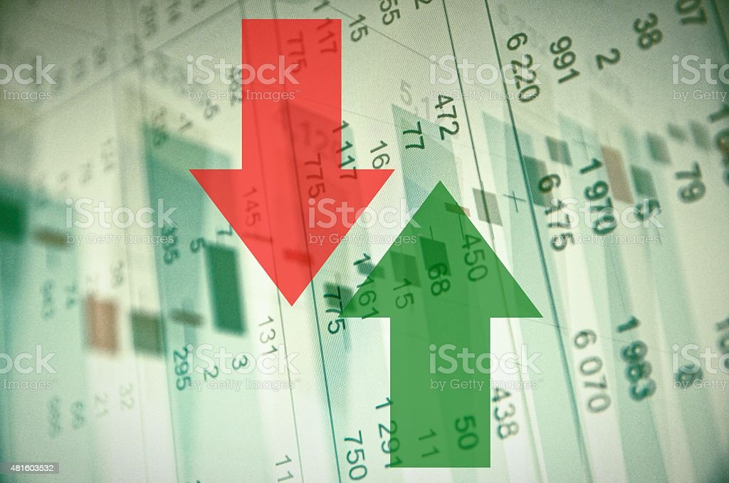 Trading software window on PC screen. Stock market activity stock photo