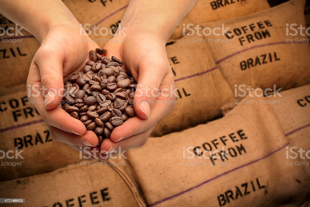 Trading with coffee beans stock photo