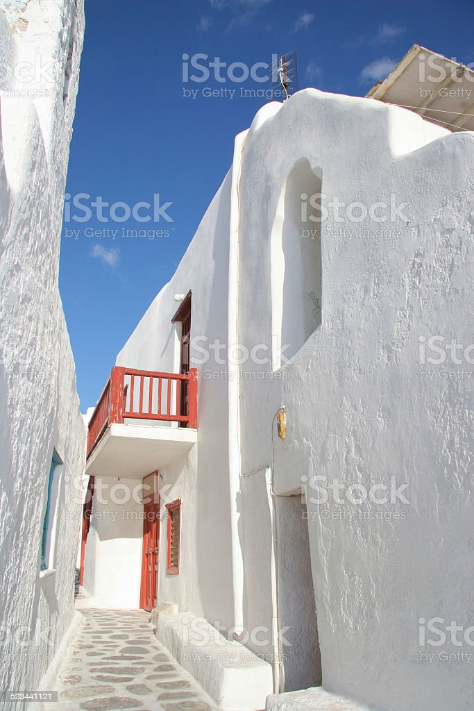 Tradional narrow street, Mykonos town, Cyclades, Greece. stock photo