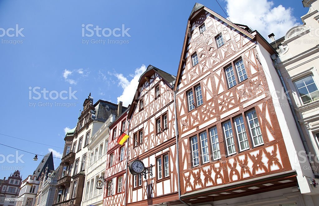 Tradiontal houses at Hauptmarkt, Trier Germany stock photo