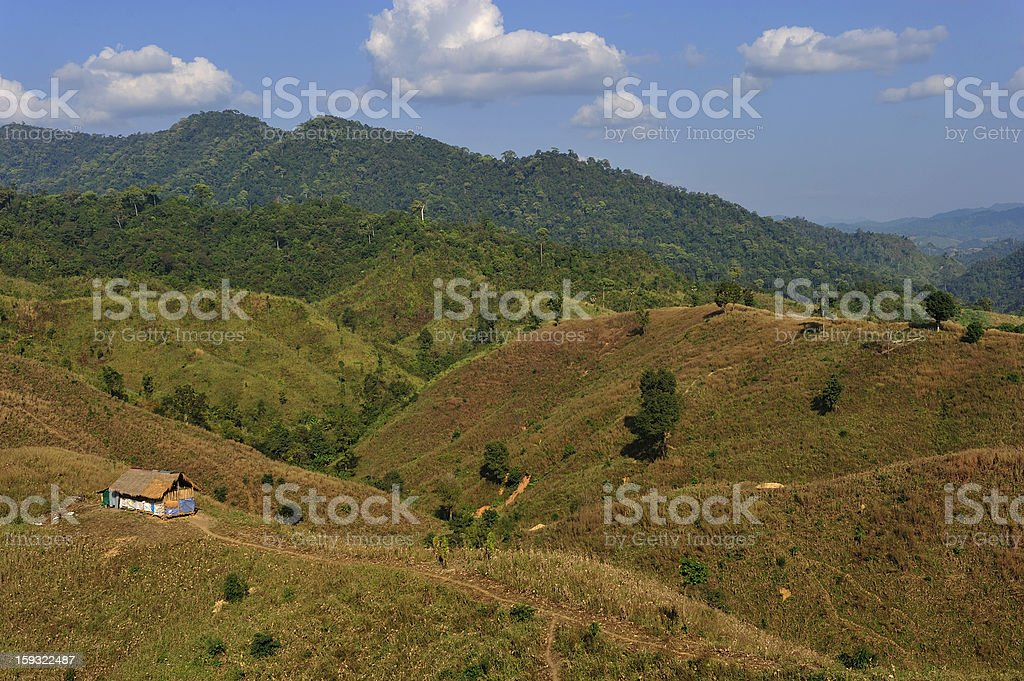 tradition hut on the mountain  in  North of Thailand royalty-free stock photo