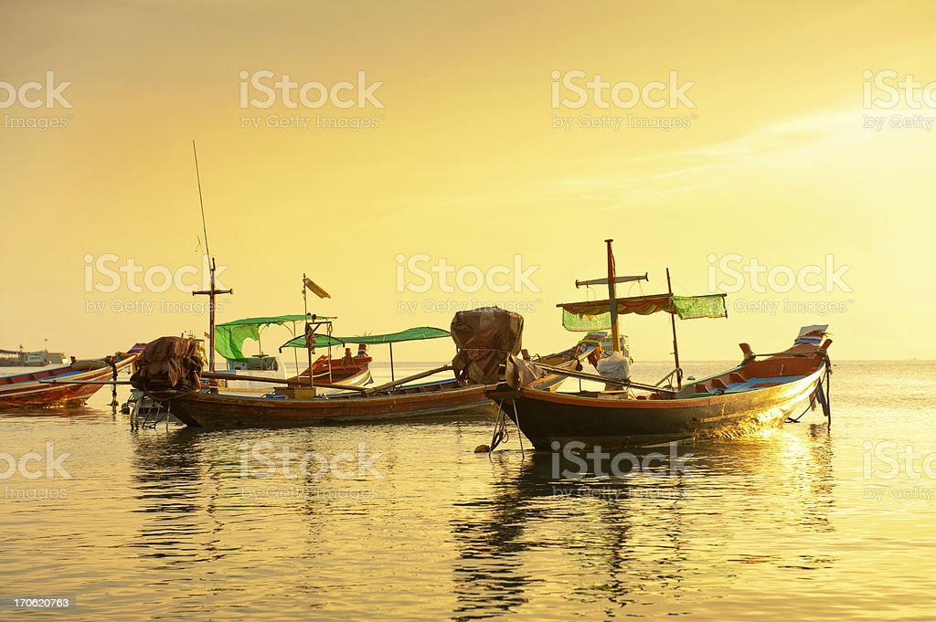 Tradition long tail boat in the sea on gold sunset. stock photo