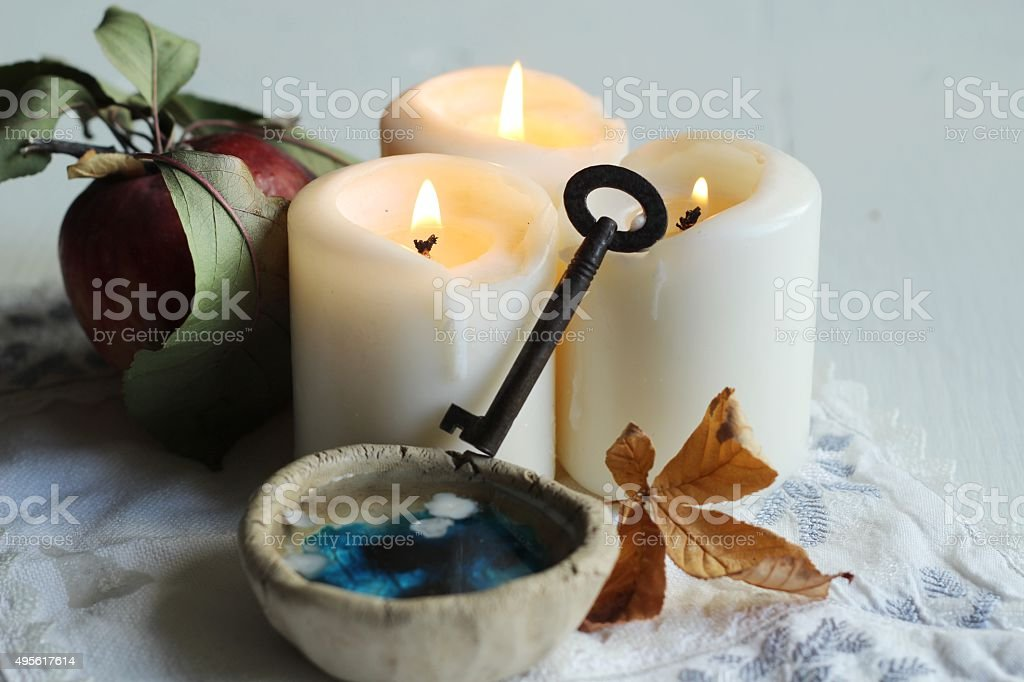 tradition polish wax divination on the eve of St. Andrew stock photo