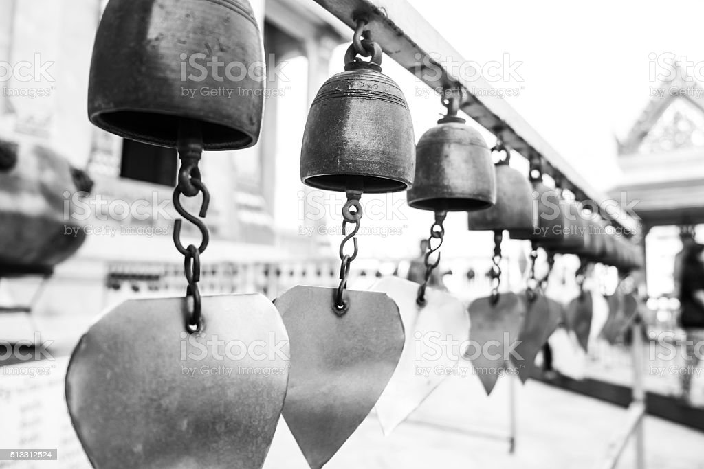 Tradition Thailand bells temple, selective focus, shallow depth of field stock photo