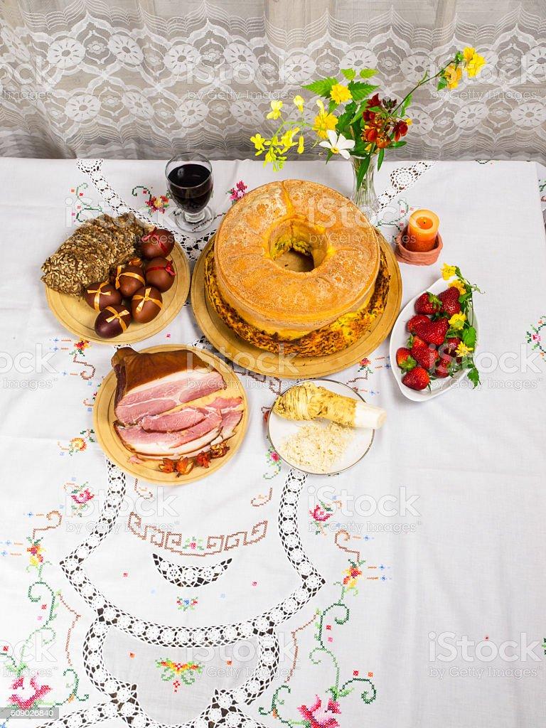Traditiona Eastren food in Slovenia stock photo