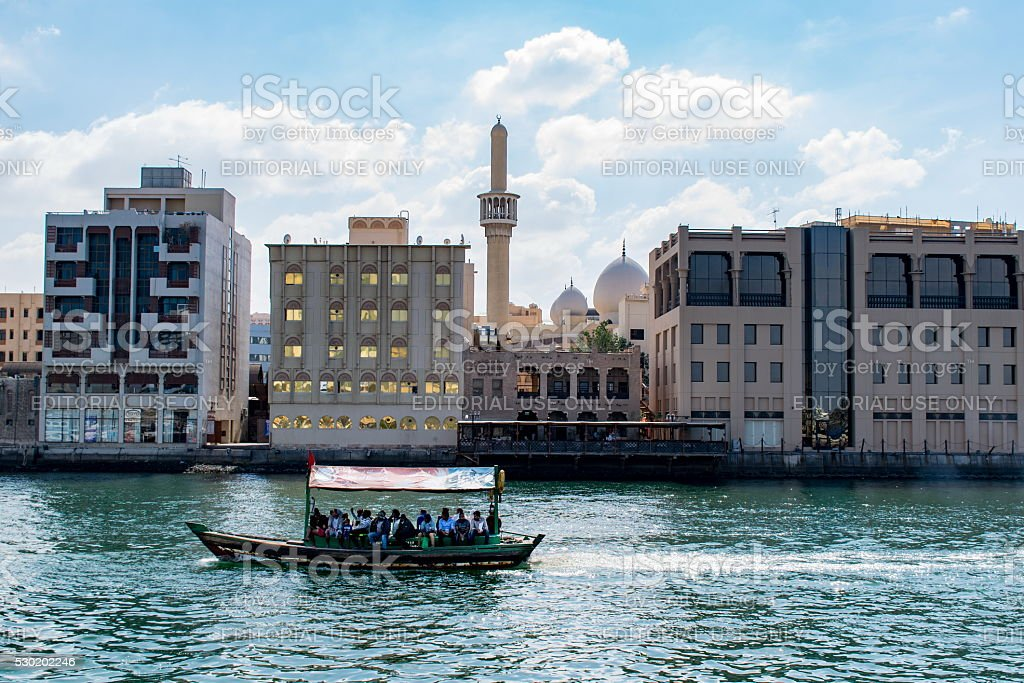 DUBAI, UAE-JANUARY 31, 2016: Traditional Abra ferries at the cre stock photo