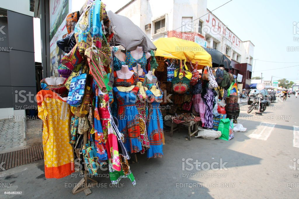Traditional African Textiles Stall, Lomé, Togo, West Africa stock photo
