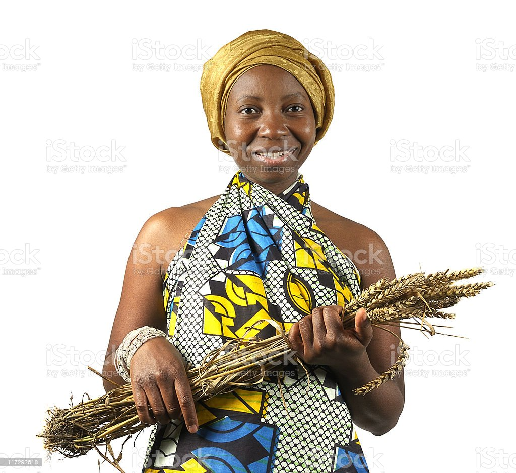 Traditional African Woman Holding her Wheat stock photo