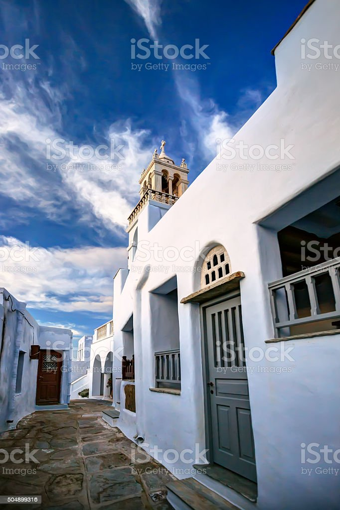 Traditional alleyway in a small village of Tinos island, Greece stock photo