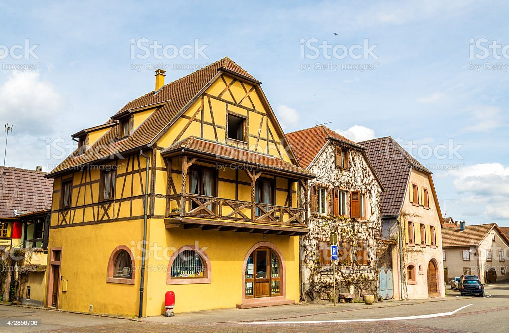 Traditional Alsatian houses in Bergheim, France stock photo