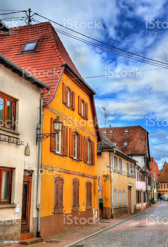 Traditional Alsatian houses in Molsheim - France stock photo