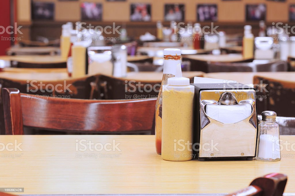 Traditional American New York City Deli Diner Tables royalty-free stock photo