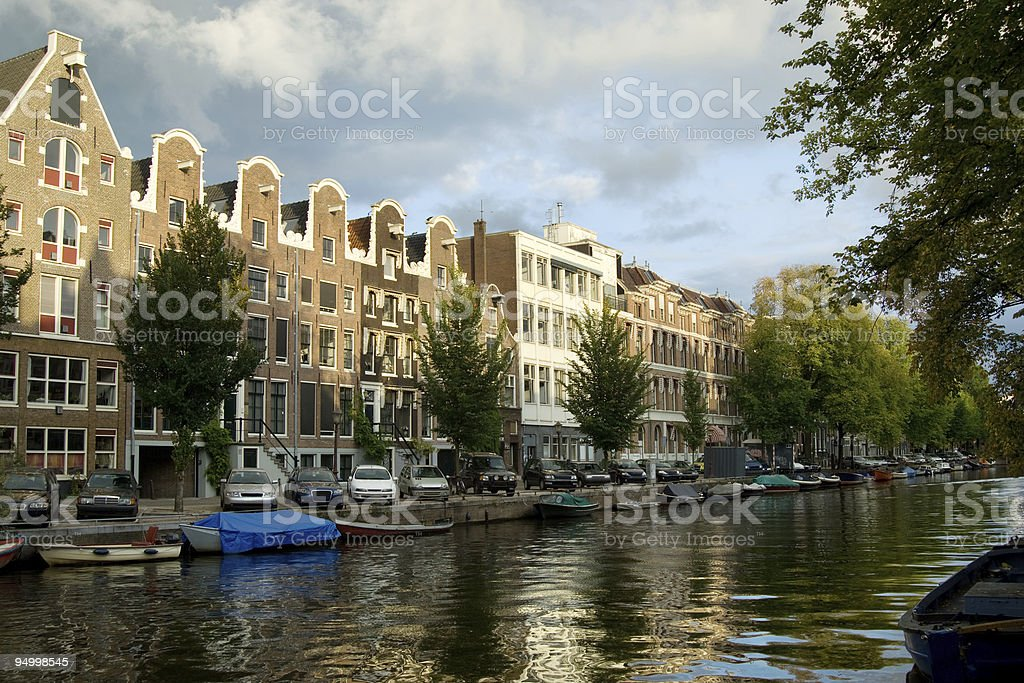 Traditional Amsterdam houses stock photo