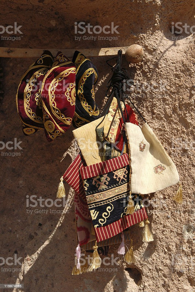 Traditional Anatolian bags and hats stock photo