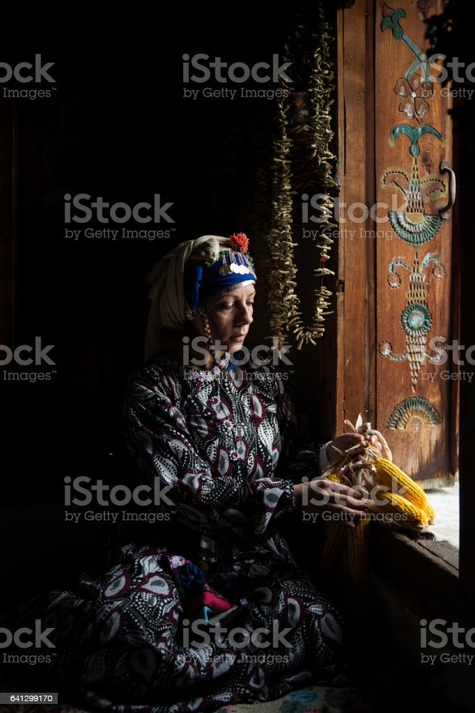 Traditional anatolian woman stock photo