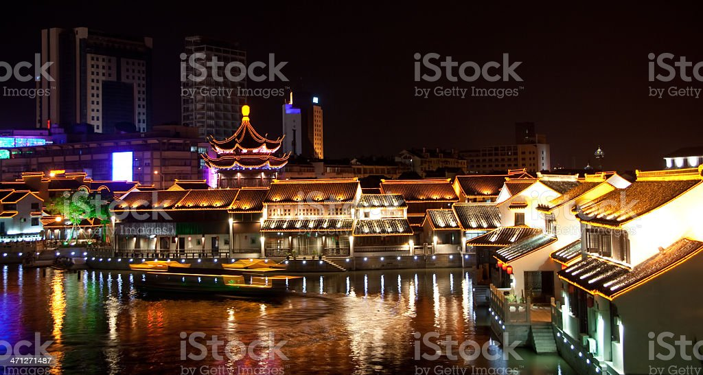 traditional ancient town at night royalty-free stock photo