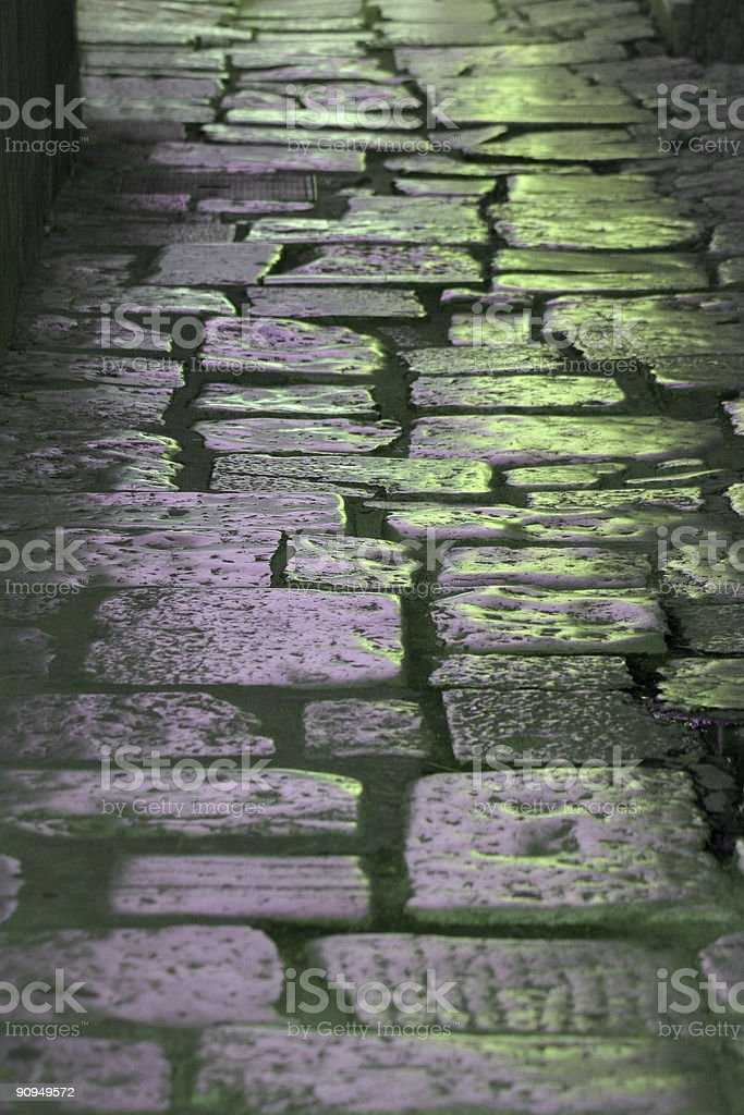 Traditional and historic blue cobblestone way royalty-free stock photo
