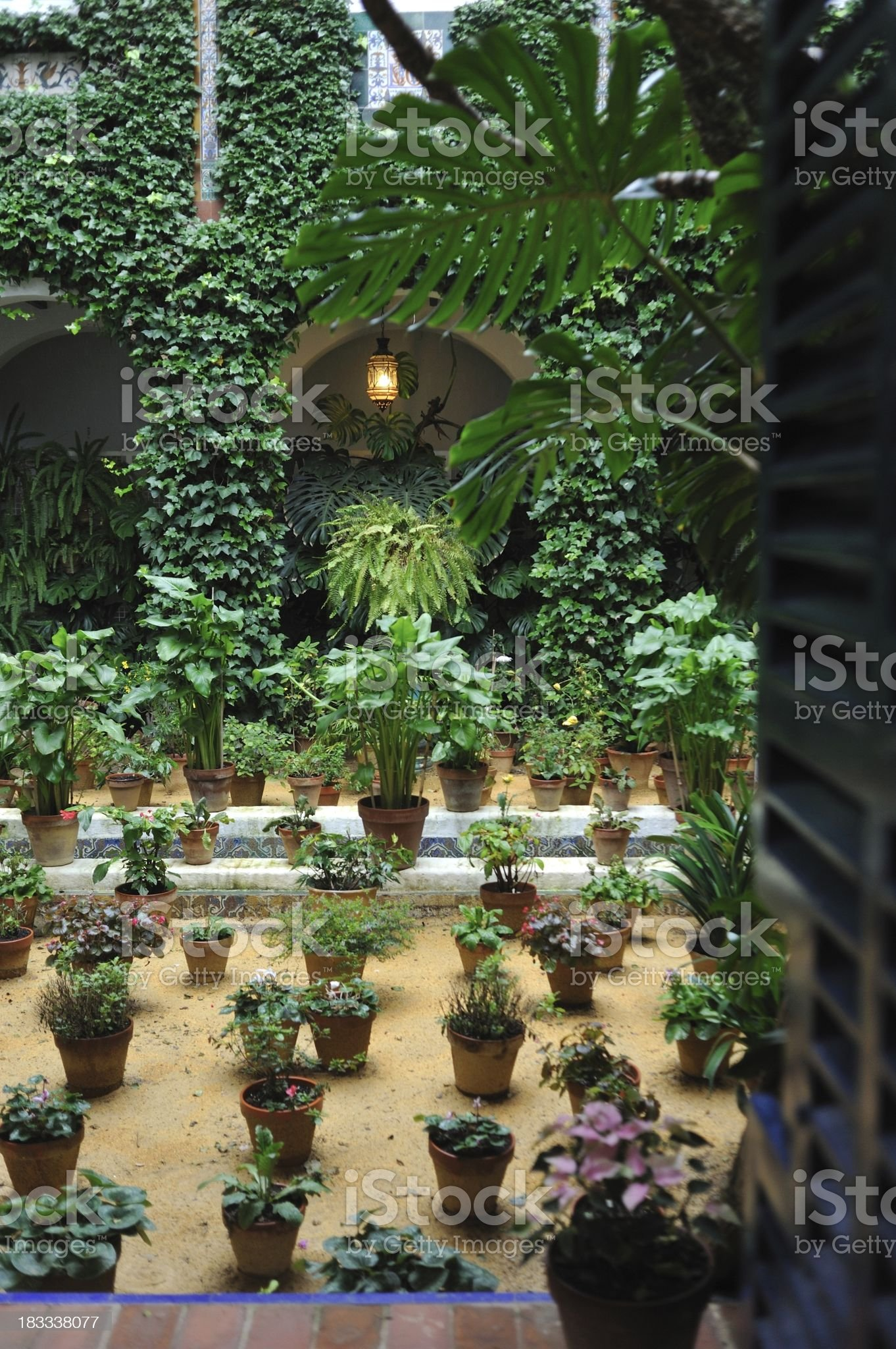 Traditional Andalusian patio with potted plants royalty-free stock photo