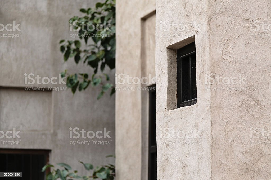 Traditional arab architecture from Bastakiya Quarter in the Al F stock photo