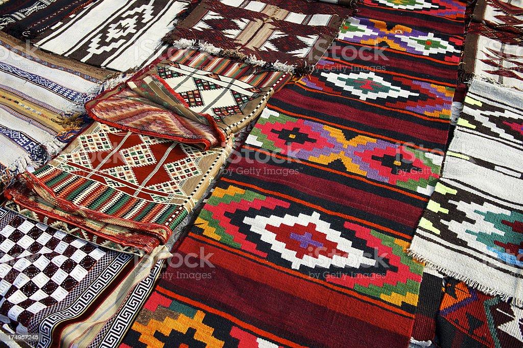Traditional Arabian Blankets Outdoor Souk Doha Qatar stock photo