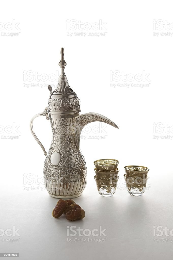 Traditional Arabian Coffee set and dried dates royalty-free stock photo