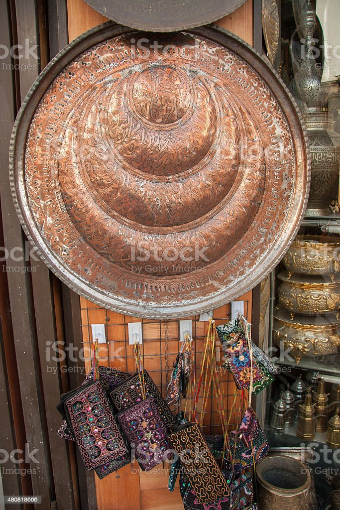 Traditional arabic art items and Souvenirs in bazaar- Damascus, Syria stock photo