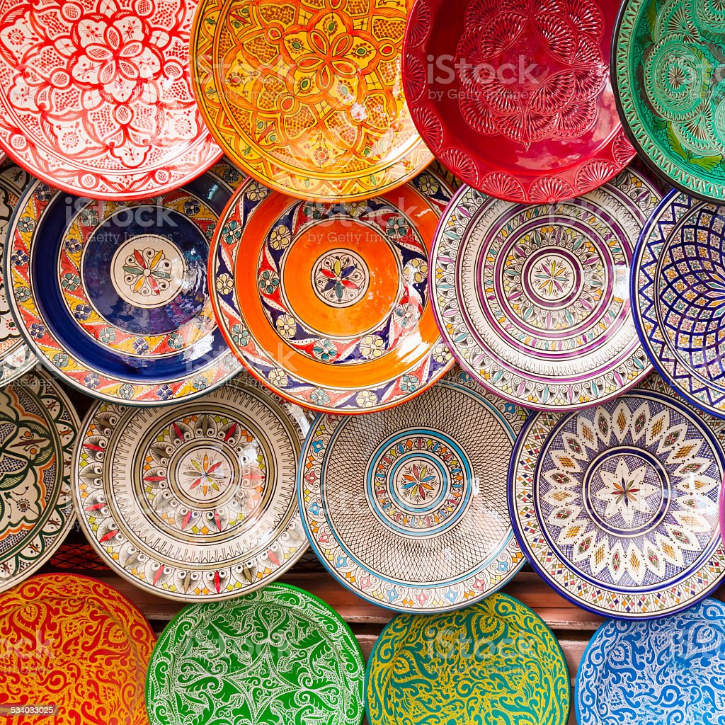 Traditional arabic colorful clay plates. stock photo