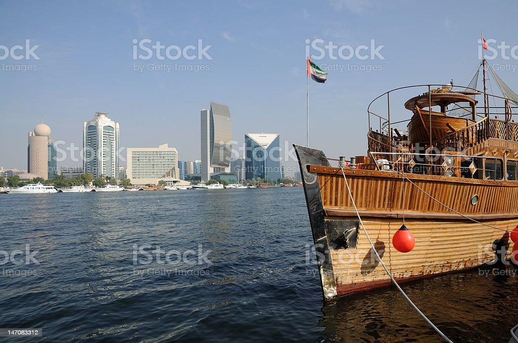 Traditional Arabic ship at Dubai Creek stock photo