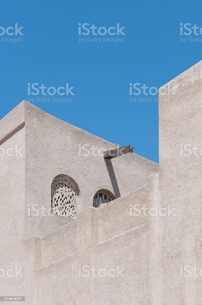 Traditional architecture in Bastakia Quaters in old Bur Dubai, UAE stock photo