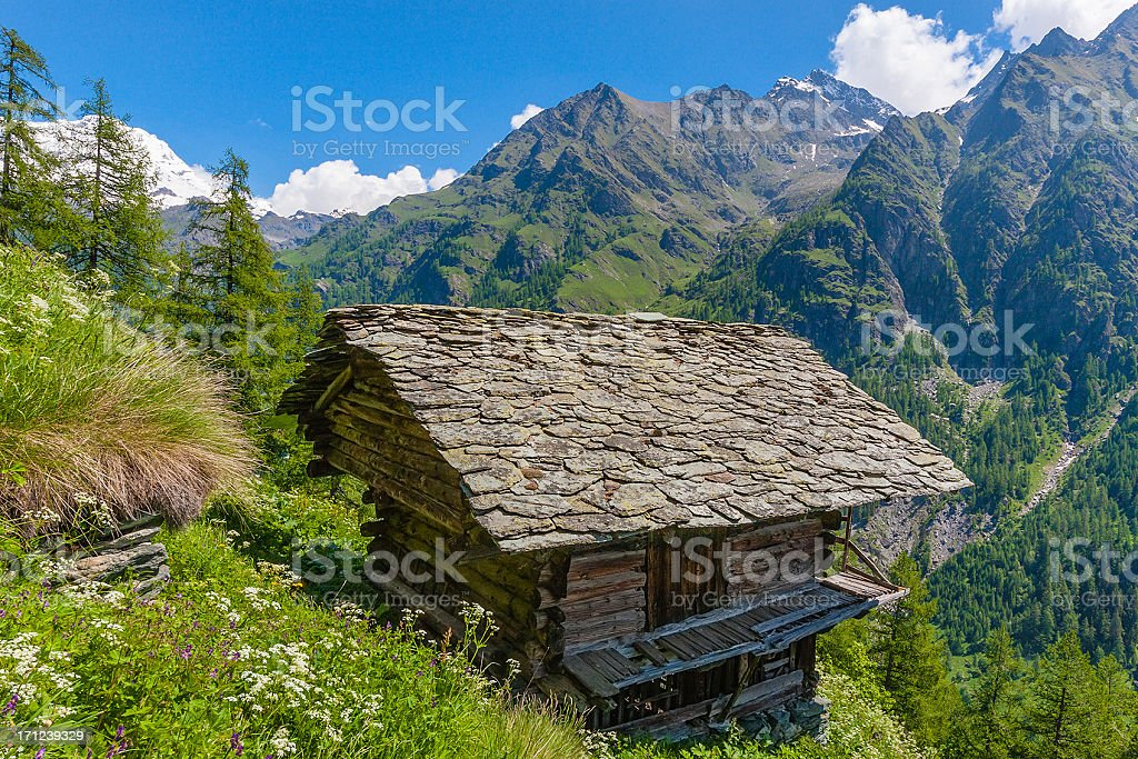 Traditional Architecture in Gressoney Valley, Italy royalty-free stock photo