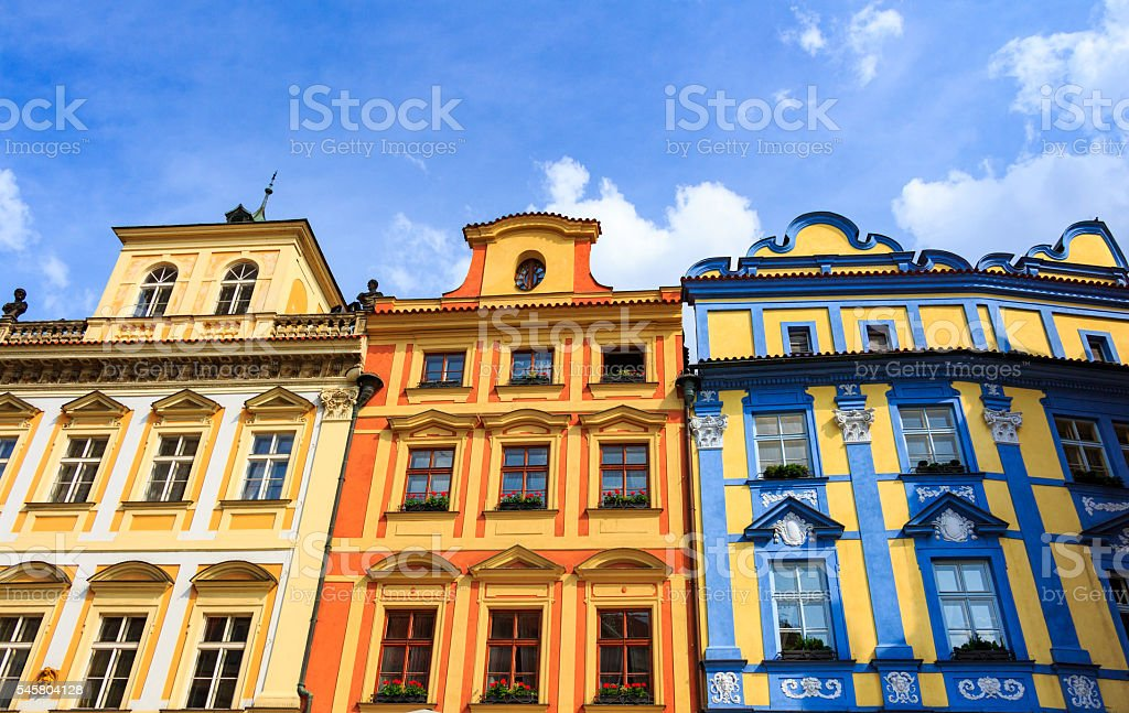 Traditional architecture in Old Town square, Prague, Czech Republic stock photo