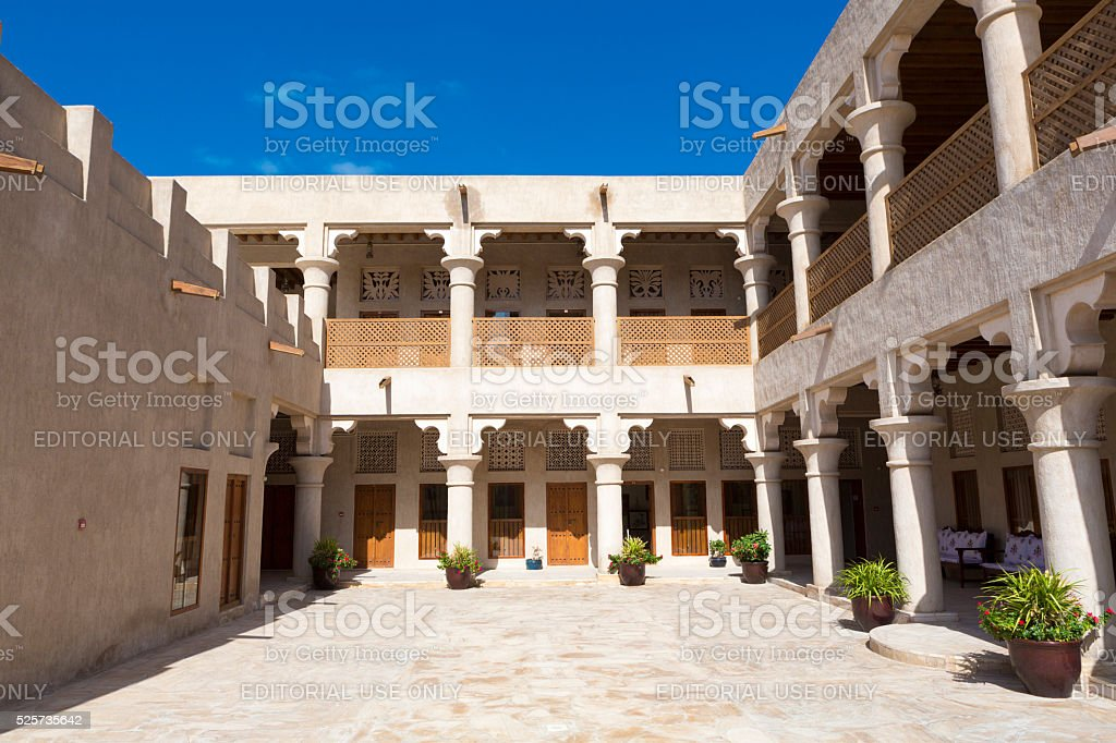 Traditional architecture in the old district of Dubai, Creek are stock photo