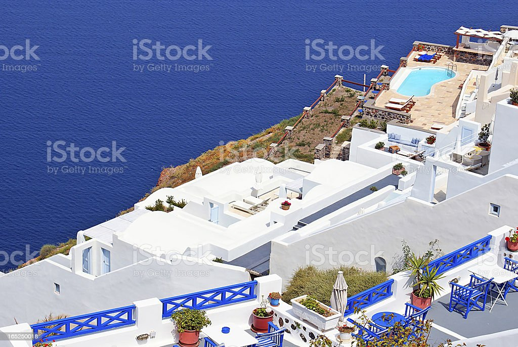 Traditional architecture of Oia village on Santorini island, Gre royalty-free stock photo