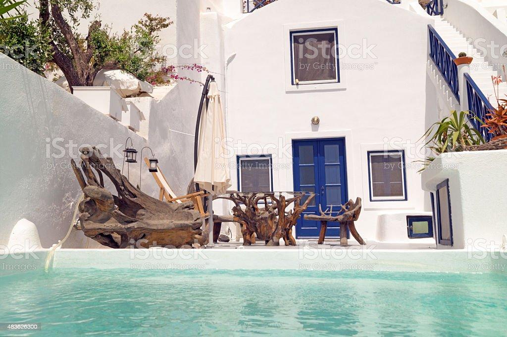 Traditional architecture of Oia village on Santorini island stock photo