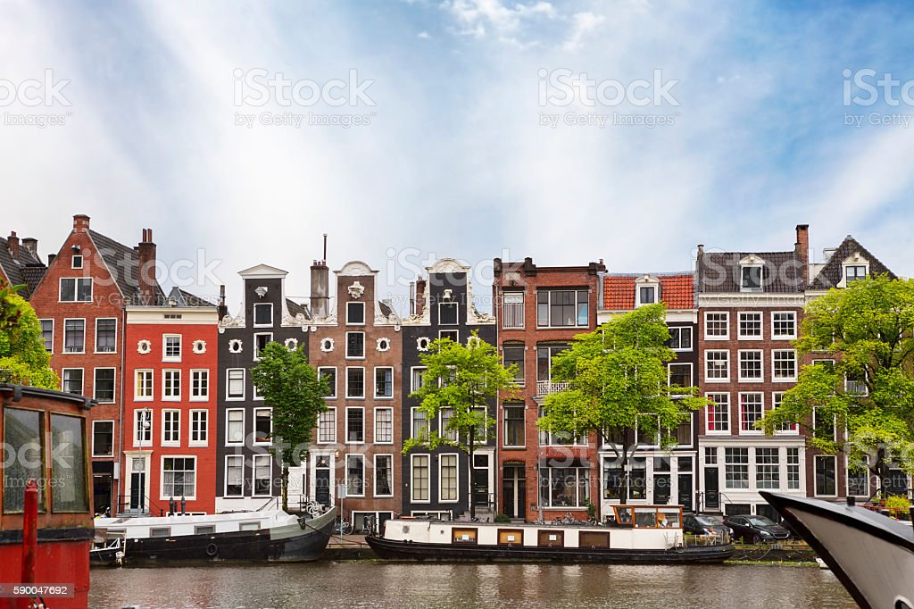 Traditional Architecture of Old Amsterdam stock photo