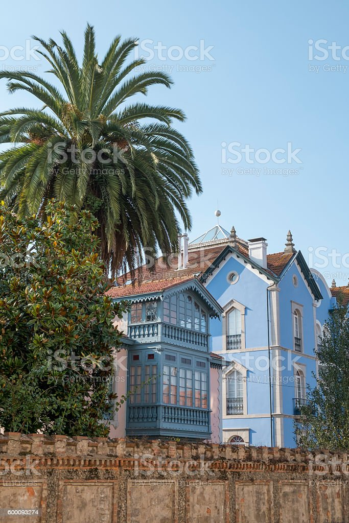 Traditional architecture of the Llanes, Asturias, Spain. stock photo