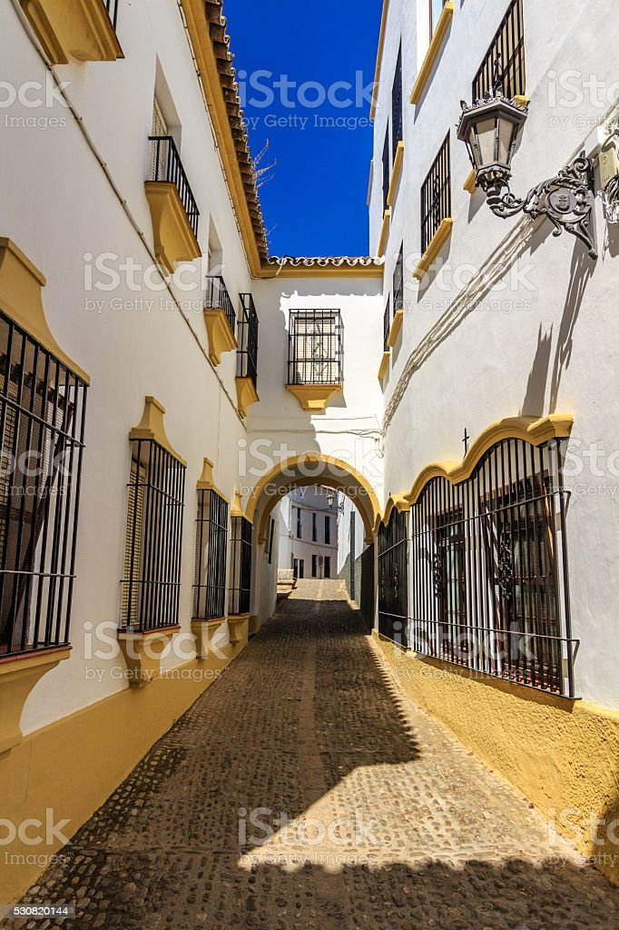 Traditional architecture on the streets, Ronda stock photo
