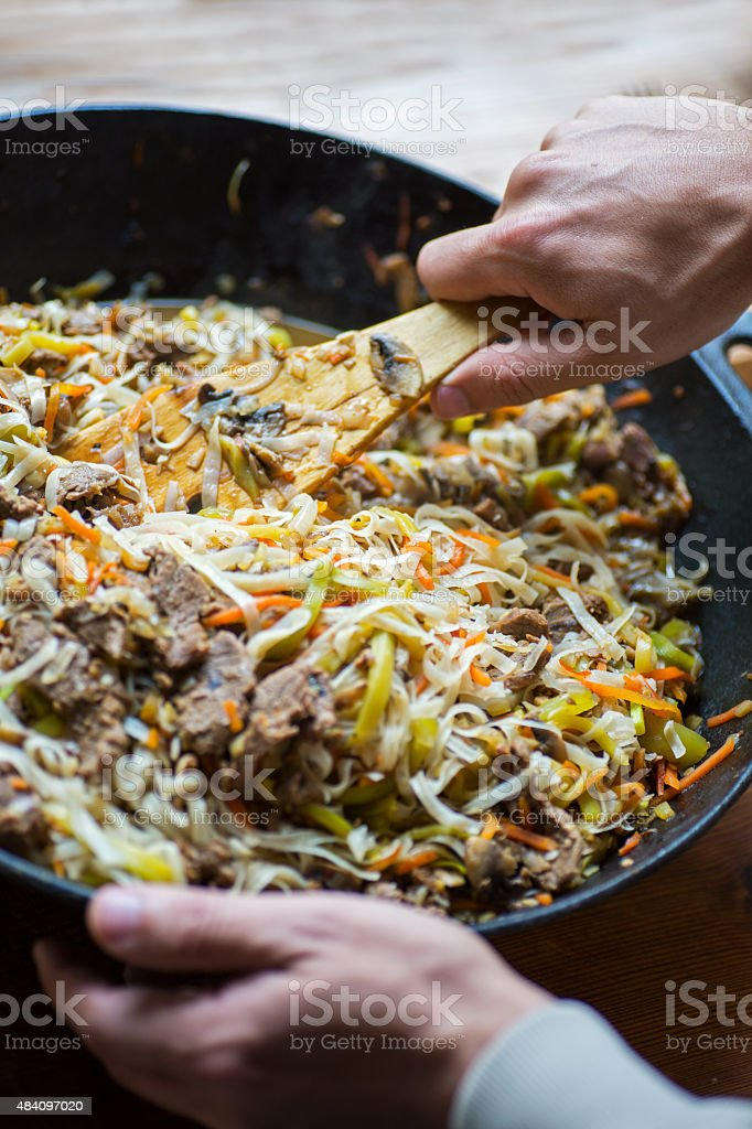 Traditional asian beef meet with vegetables stock photo