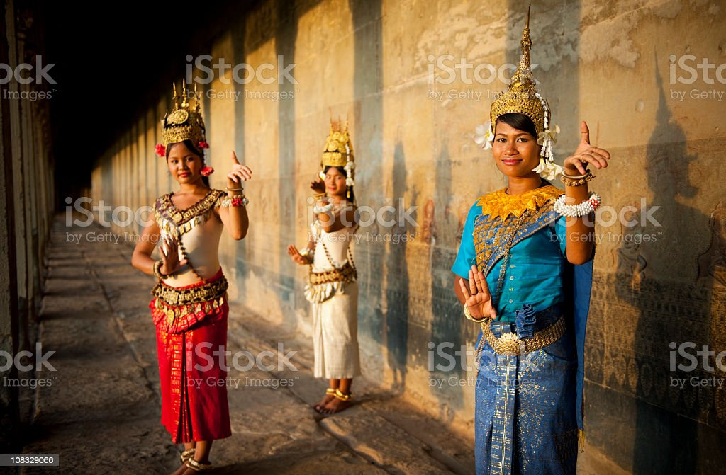 Traditional Aspara Dancers Ankor Wat Cambodia. stock photo