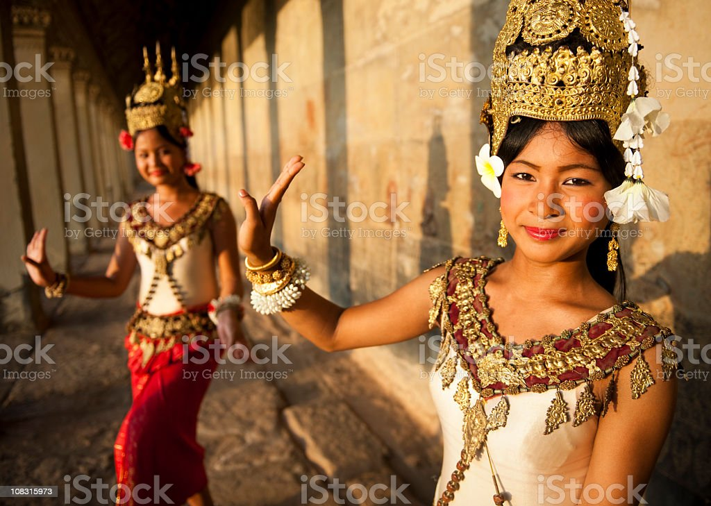 Traditional Aspara Dancers royalty-free stock photo