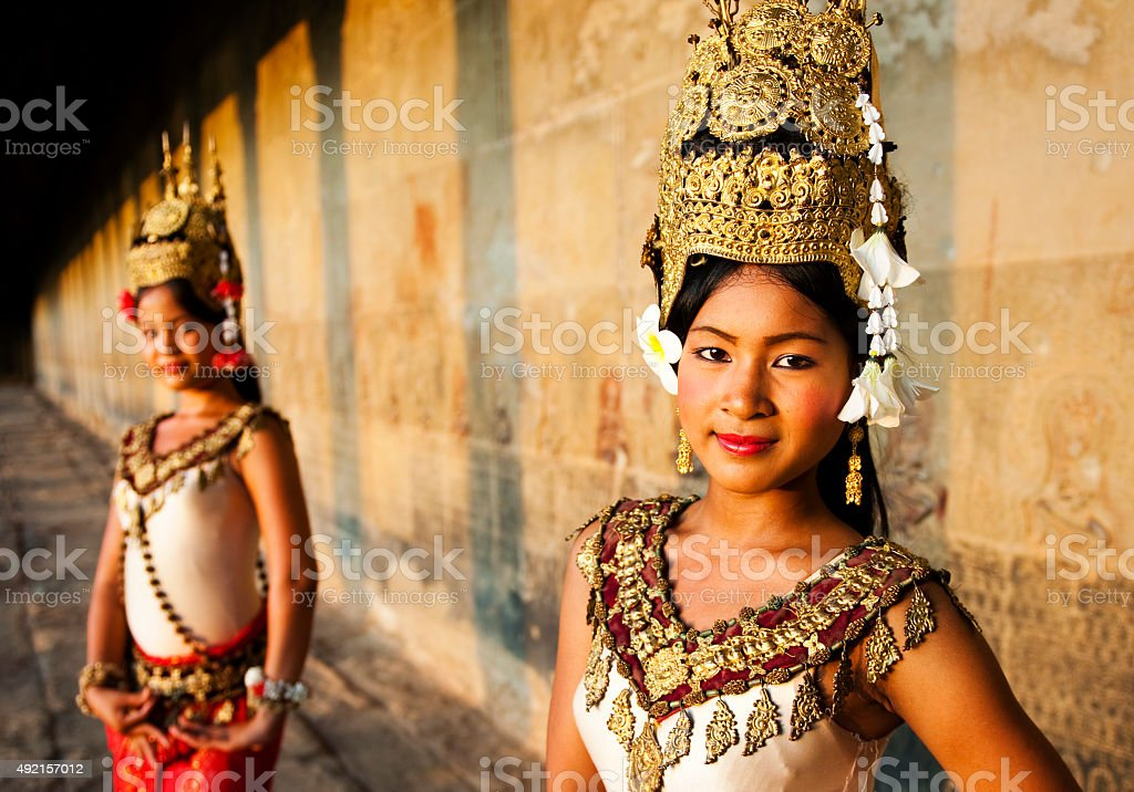 Traditional Aspara Dancers Siem Reap Concept stock photo