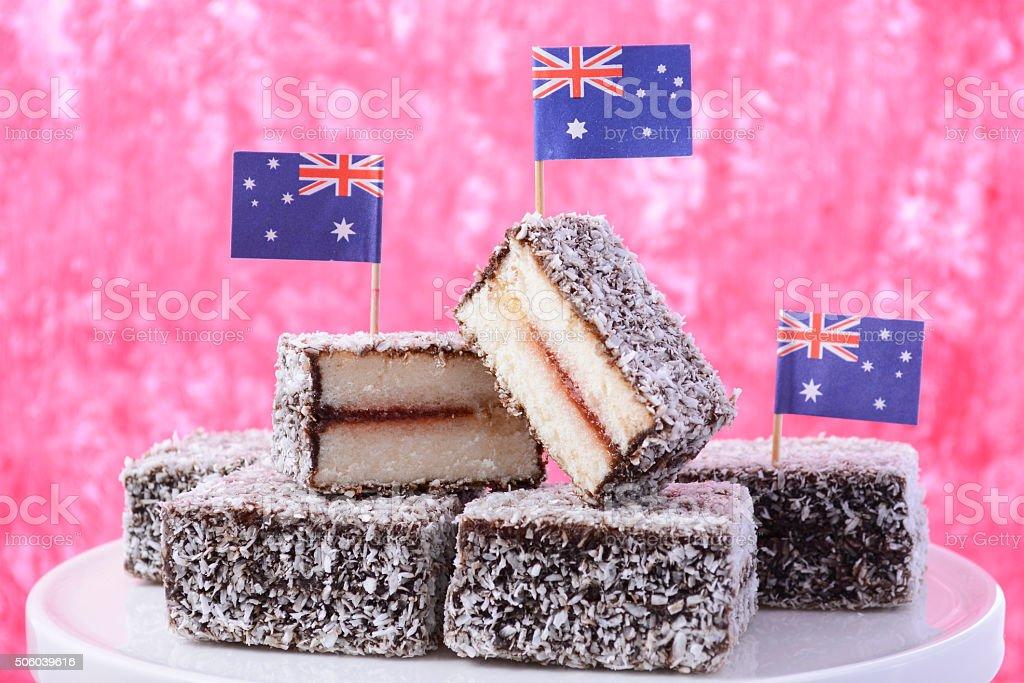 Traditional Australian Lamington Cakes stock photo