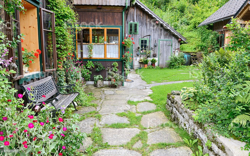 Traditional Austrian Timbered Country House stock photo