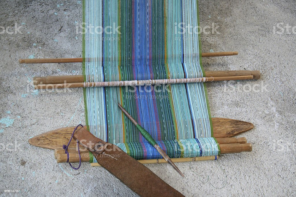 Traditional backstrap loom in Guatemala stock photo