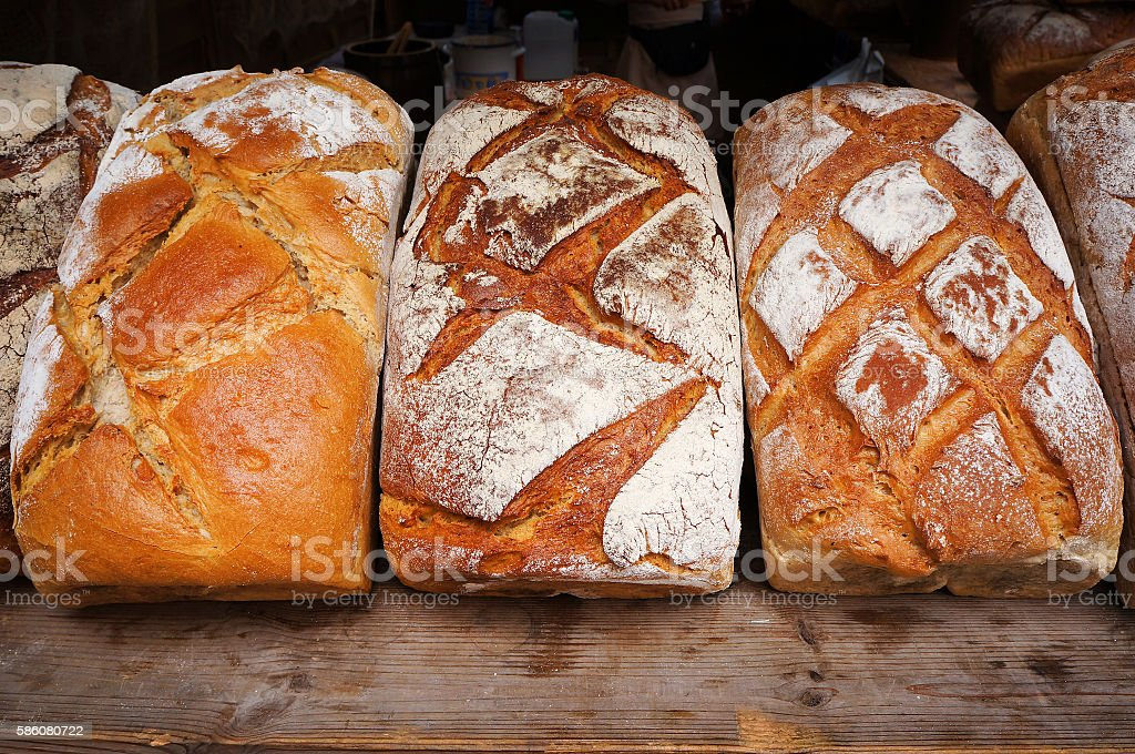 Traditional baked bread. stock photo