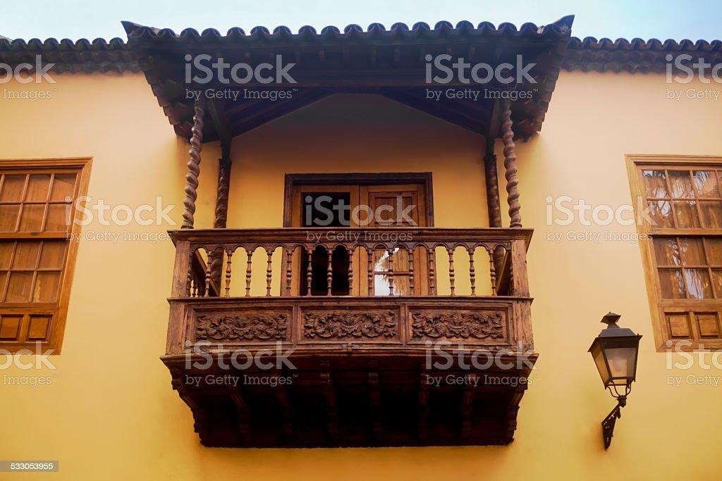 Traditional balcony in Tenerife. stock photo