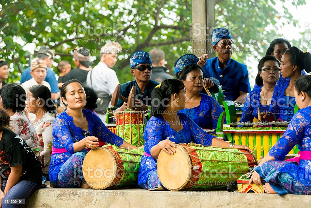 Traditional Bali Music Played for Hindu Ceremony stock photo