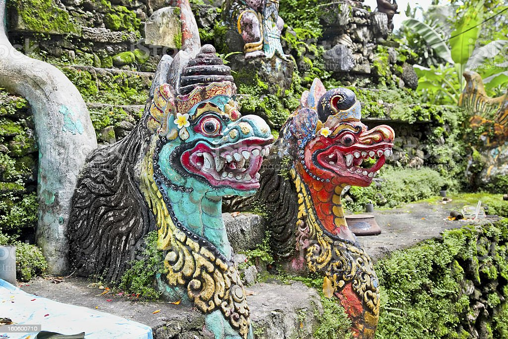 Traditional balinese dragon monster secure the gate of temple, B royalty-free stock photo