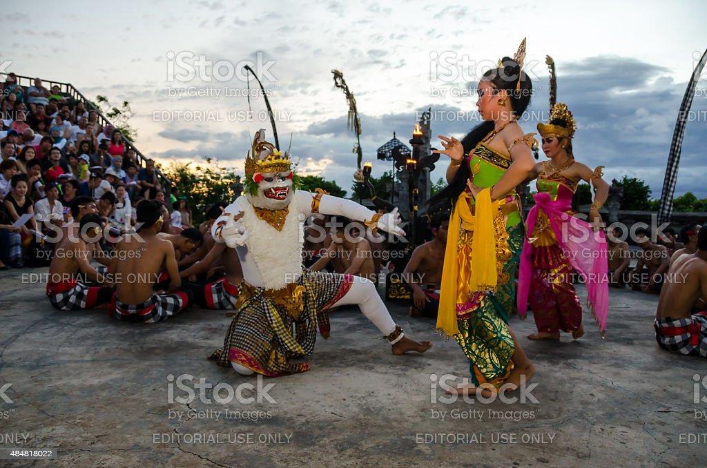 Traditional Balinese Kecak Dance at Uluwatu Temple, Bali, Indonesia stock photo